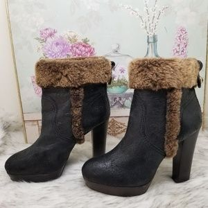 Tory Burch shearling fur ankle boots